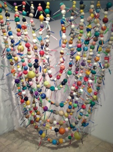 Installation:Plastic balls and toothbrushes gathered from the Caribbean