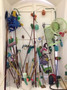 Installation, objects gathered from the Caribbean